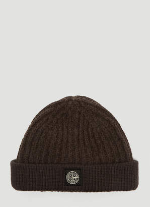 Stone Island Logo Patch Beanie Hat in Brown