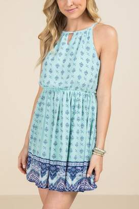 francesca's Pippa Keyhole Neck Floral Border A-Line Dress - Mint