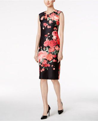 Eci Floral-Print Knotted Key-Hole Sheath Dress $70 thestylecure.com