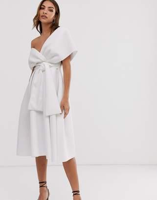 Asos Design DESIGN Fallen Shoulder Prom Dress with Tie Detail