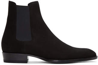 Saint Laurent Black Suede Wyatt Chelsea Boots