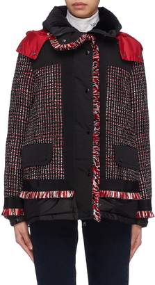 Moncler Tweed panel hooded down puffer jacket