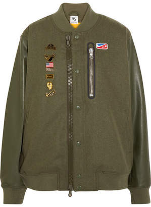 Nike + Riccardo Tisci Embellished Appliquéd Wool-blend Felt And Faux Leather Bomber Jacket - Army green
