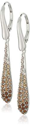 Swarovski Sterling Silver Ombre Brown Teardrop Leverback Dangle Earrings Made with Crystal