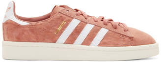 adidas Pink and White Pigskin Nubuck Campus Sneakers