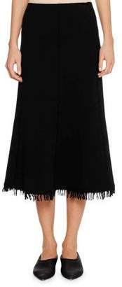 Jil Sander A-Line Calf-Length Wool-Blend Midi Skirt with Fringe Hem
