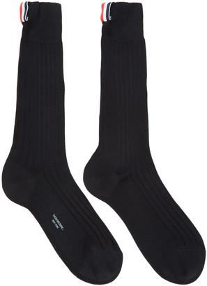 Thom Browne Black Ribbed Socks $90 thestylecure.com
