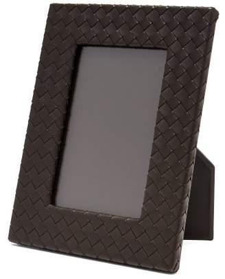 Bottega Veneta Intrecciato Weave Leather Photo Frame - Dark Brown