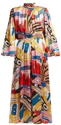 MSGM Pop Milano Print Satin Dress - Womens - White Multi