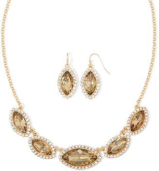 MONET JEWELRY Monet Brown Gold-Tone Collar Necklace and Earring Set