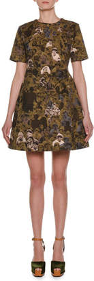 Marni Short-Sleeve Photo Camo-Print Cotton Woven A-Line Mini Dress