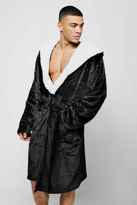 boohoo Hooded Fleece Robe With Sherpa Lining