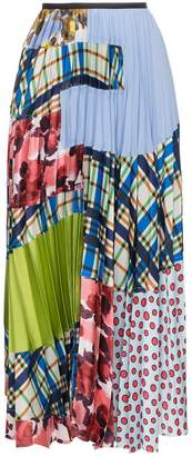 Marni pleated patchwork maxi skirt