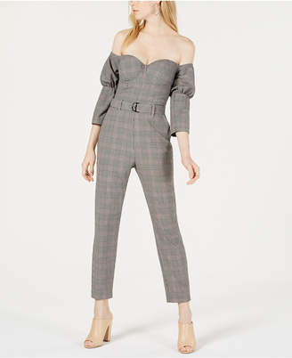 GUESS Alexa Plaid Bustier Jumpsuit