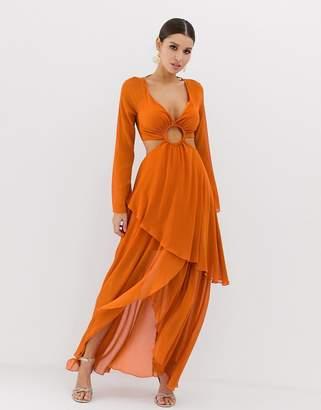 Asos Design DESIGN maxi dress with long sleeve and circle trim detail