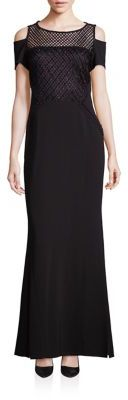 Laundry by Shelli Segal PLATINUM Cold Shoulder Beaded Dress $795 thestylecure.com