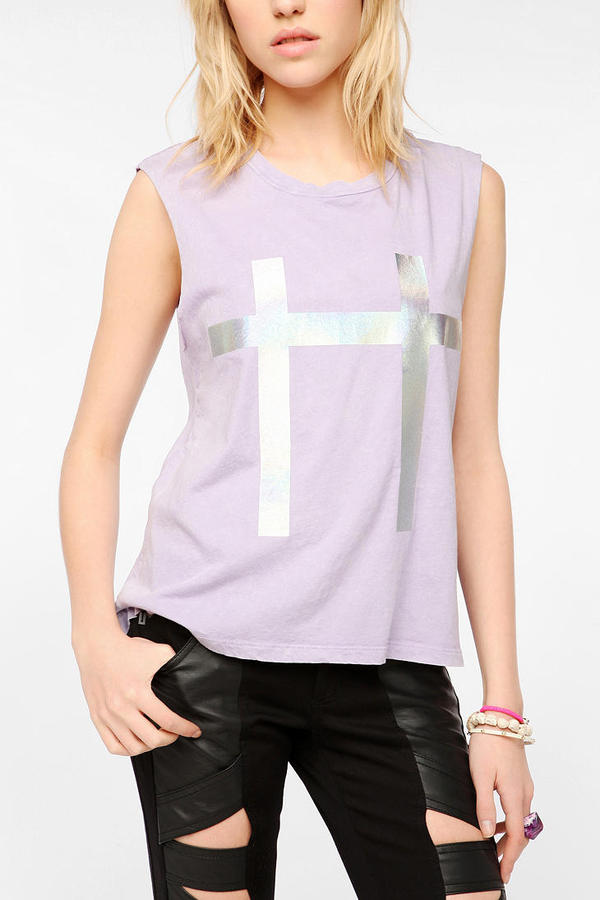 Truly Madly Deeply Holographic Cross Muscle Tee
