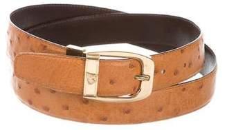 Mark Cross Gold-Tone Buckle Ostrich Belt