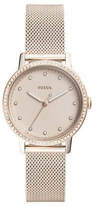 Fossil Neely Three-Hand Stainless Steel Mesh Bracelet Watch