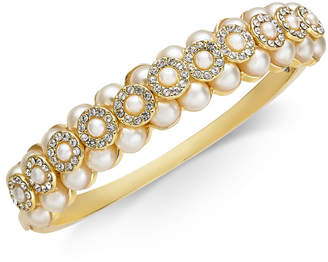 Charter Club Gold-Tone Imitation Pearl & Crystal Bangle Bracelet