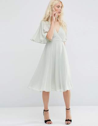 Asos DESIGN Wrap Front Midi Dress with Angel Sleeve