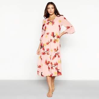 Vero Moda Pink Floral Print Chiffon 'Katy' V-Neck Midi Smock Dress