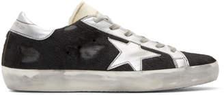 Golden Goose Black Calf Hair Superstar Sneakers