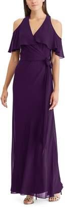 Chaps Women's Cold-Shoulder Georgette Overlay Evening Dress