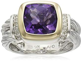 S&G Sterling Silver and 14k Yellow Gold Cushion Amethyst Bezel with Diamond Accent Ring