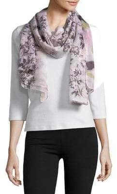 Lord & Taylor Painted Floral Scarf
