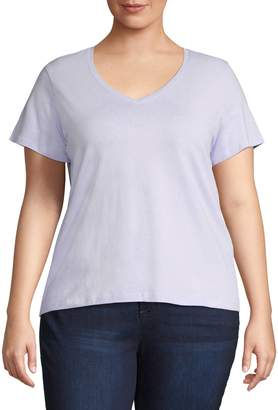 Lord & Taylor Plus Classic V-Neck Tee