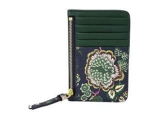 Tory Burch Floral Tassel Top Zip Card Case Credit card Wallet