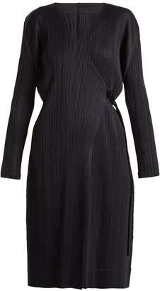 Pleats Please Issey Miyake V-neck wrap-style pleated robe coat