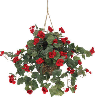 Nearly Natural Begonia Hanging Basket
