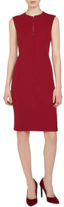 Akris Sleeveless Round-Neck Zip-Front Four-Slit Hem Sheath Wool Dress