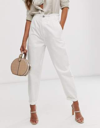 Asos Design DESIGN soft peg jeans in white with elasticated cinched waist detail