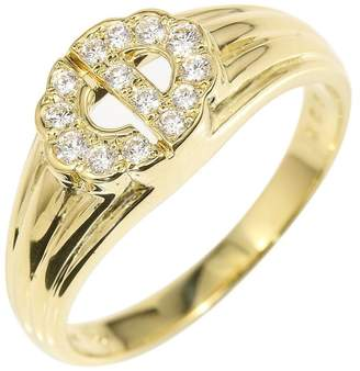 Christian Dior 18K Yellow Gold & Diamond Logo Ring Size 5.75