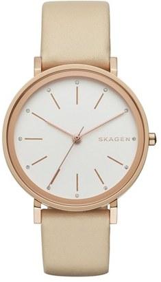 Women's Skagen 'Hald' Round Leather Strap Watch, 34Mm $155 thestylecure.com