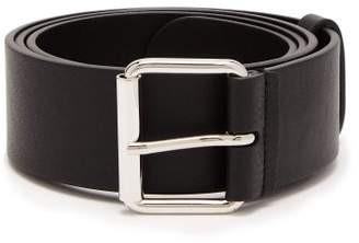 Balenciaga Logo Print Leather Belt - Mens - Black Red