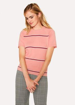 Paul Smith Women's Pink Stripe Cotton Short-Sleeve Sweater
