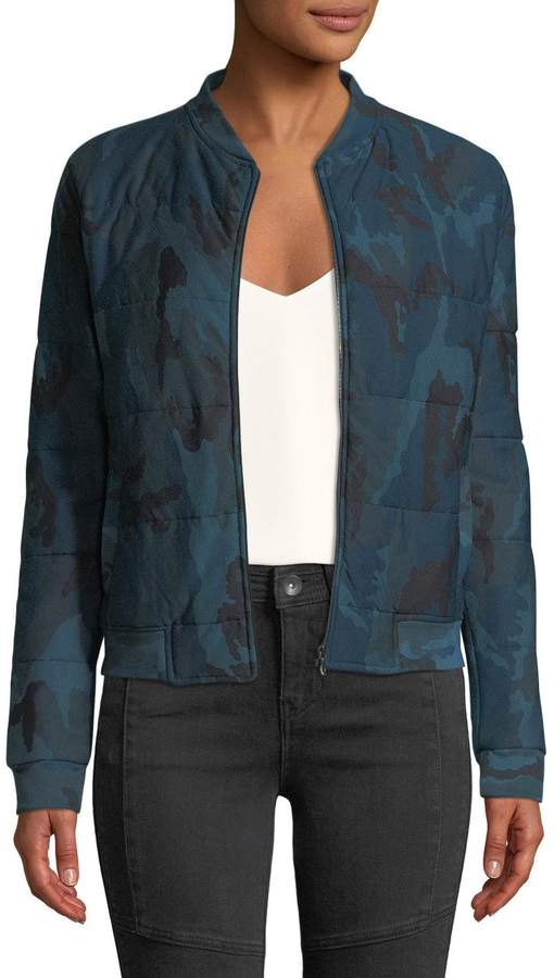 Majestic Paris for Quilted Camo-Print Zip-Front Bomber Jacket