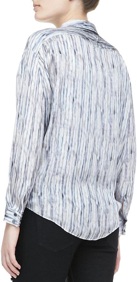 Theyskens' Theory Belin Silk Long-Sleeve Top