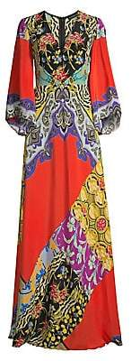 Etro Women's Kimono Sleeve Patchwork Floral Dress
