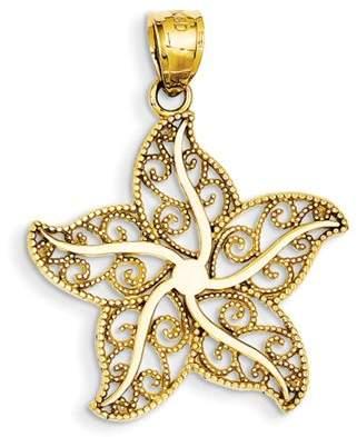 Core Gold 14k Yellow Gold Filigree Starfish Pendant