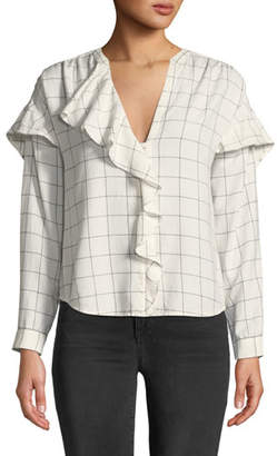 Joie Rangi Windowpane Check Ruffle Top