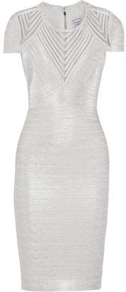 Herve Leger Tulle-paneled Metallic Bandage Dress - Silver