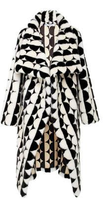 Oscar de la Renta Geometric Shawl Fur Coat