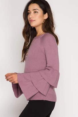 She + Sky Bell Sleeve Sweater