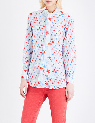 Sandro Star-print silk blouse $295 thestylecure.com