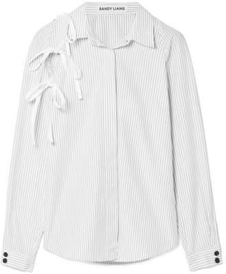 Sandy Liang - Lena Tie-detailed Pinstriped Cotton-poplin Shirt - White